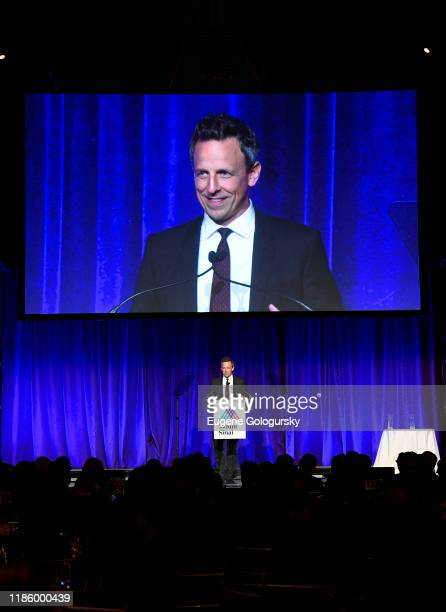 Seth Meyers speaks onstage during 2019 Mount Sinai Prostate Cancer Research Gala at Cipriani 42nd Street on November 06 2019 in New York City