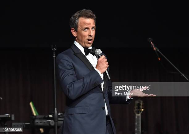 Seth Meyers speaks onstage during Rihanna's 4th Annual Diamond Ball benefitting The Clara Lionel Foundation at Cipriani Wall Street on September 13...