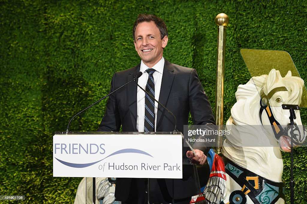 Seth Meyers speaks onstage during the 2015 Friends of Hudson River Park Gala at Hudson River Park's Pier 62 on October 8, 2015 in New York City.