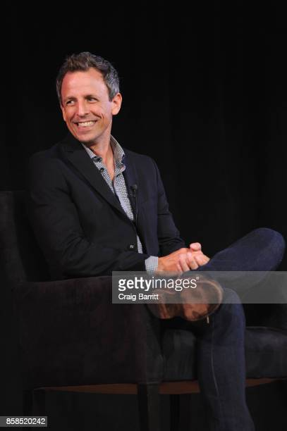 Seth Meyers speaks onstage during the 2017 New Yorker Festival at New York Society for Ethical Culture on October 6 2017 in New York City