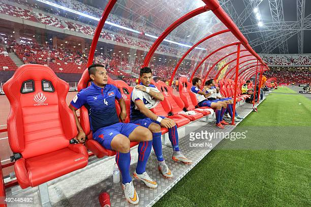Seth of Cambodia looks on from the bench before the FIFA 2018 World Cup Qualifier match between Singapore and Cambodia at the National Stadium on...