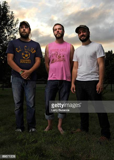 Seth Olinsky, Dana Janssen and Miles Seaton of Akron/Family attend the 2009 All Points West Music & Arts Festival at Liberty State Park on August 2,...