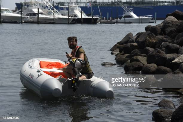 Seth Ottz a member of the Dutch organization Women on Waves is seen at the Pez Vela Marina in the port of San Jose Escuintla department 120 km south...