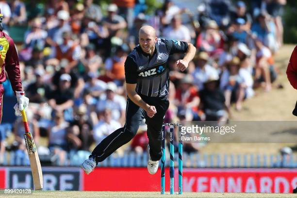 Seth Rance in action during game one of the Twenty20 series between New Zealand and the West Indies at Saxton Field on December 29 2017 in Nelson New...