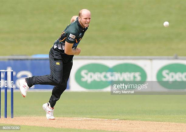 Seth Rance of Central Districts bowls during the Ford Trophy one day match between Central Stags and Canterbury at McLean Park on December 27 2015 in...