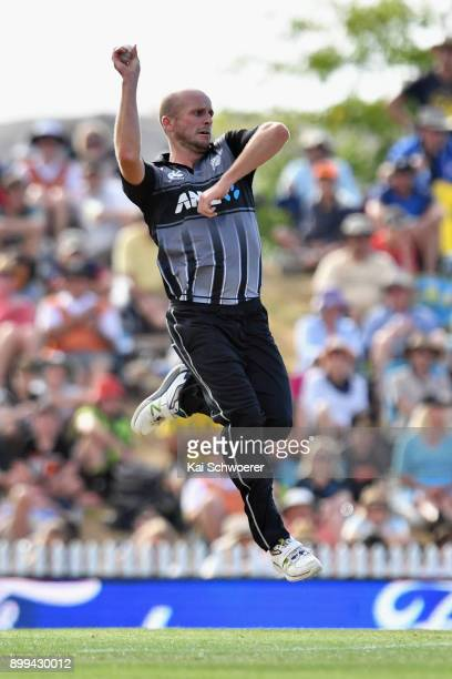 Seth Rance of New Zealand bowls during game one of the Twenty20 series between New Zealand and the West Indies at Saxton Field on December 29 2017 in...