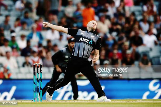 Seth Rance of New Zealand bowls during the International Twenty20 match between New Zealand and Pakistan at Eden Park on January 25 2018 in Auckland...