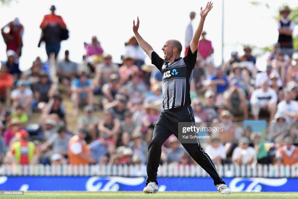 Seth Rance of New Zealand celebrates after taking the final wicket to give New Zealand victory over the West Indies during game one of the Twenty20 series between New Zealand and the West Indies at Saxton Field on December 29, 2017 in Nelson, New Zealand.