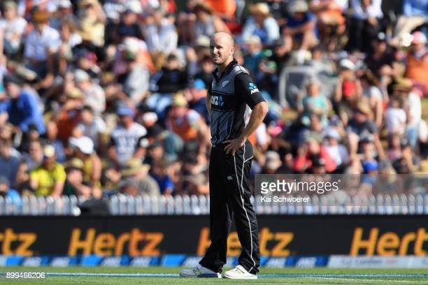 Seth Rance of New Zealand looks on during game one of the Twenty20 series between New Zealand and the West Indies at Saxton Field on December 29 2017...