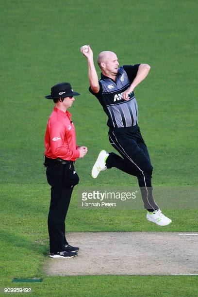Seth Rance of the Black Caps bowls during the International Twenty20 match between New Zealand and Pakistan at Eden Park on January 25 2018 in...