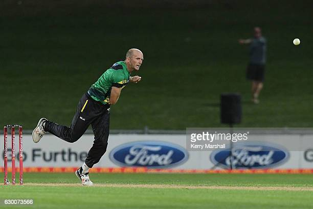 Seth Rance of the Central Stags bowls during the McDonalds Super Smash T20 match between Central Stags and Otago Volts on December 16 2016 in Napier...