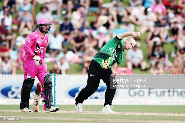 Seth Rance of the Stags bowls during the Super Smash Grand Final match between the Knights and the Stags at Seddon Park on January 20 2018 in...