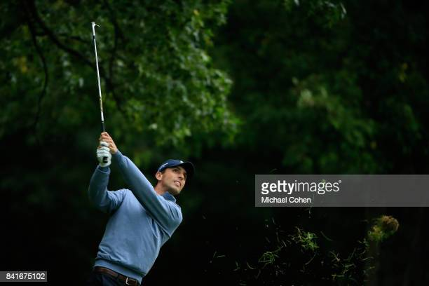 Seth Reeves hits his second shot on the 16th hole during the second round of the Nationwide Children's Hospital Championship held at The Ohio State...