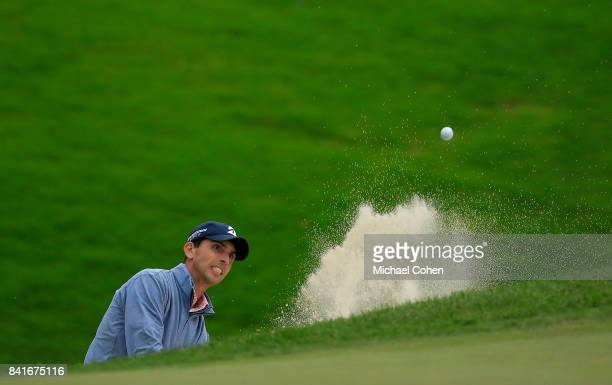 Seth Reeves hits his third shot on the16th hole from a bunker during the second round of the Nationwide Children's Hospital Championship held at The...