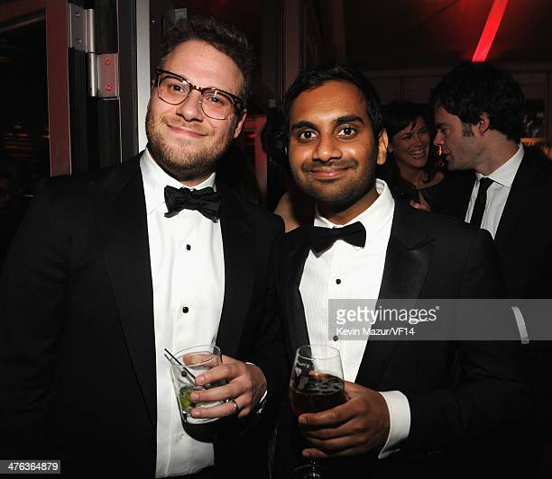 Seth Rogen and Aziz Ansari attend the 2014 Vanity Fair Oscar Party Hosted By Graydon Carter on March 2 2014 in West Hollywood California