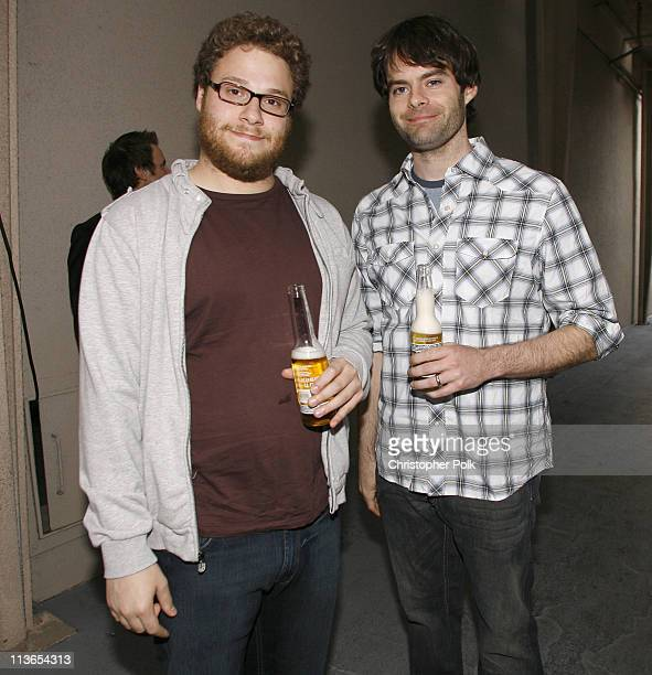 Seth Rogen and Bill Hader during First Annual Spike TV's Guys Choice - Backstage and Audience at Radford Studios in Los Angeles, California, United...