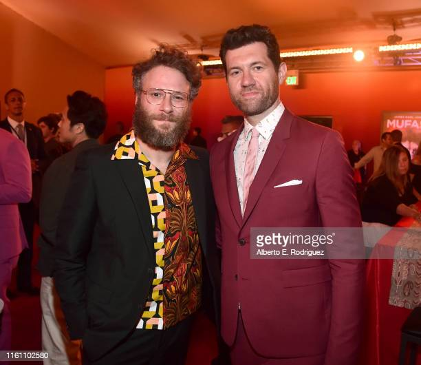 Seth Rogen and Billy Eichner attend the World Premiere of Disney's THE LION KING at the Dolby Theatre on July 09 2019 in Hollywood California