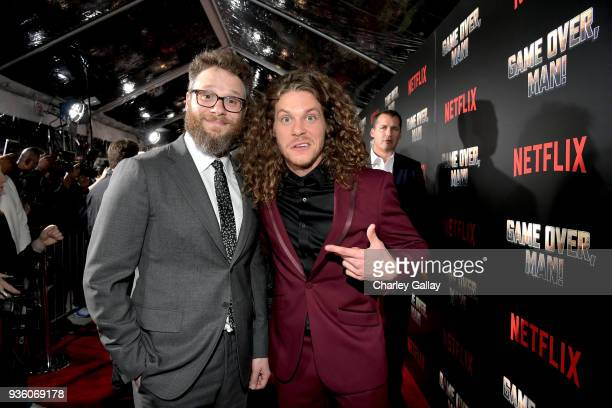 Seth Rogen and Blake Anderson attend the premiere of the Netflix film Game Over Man at the Regency Village Westwood in Los Angeles at Regency Village...