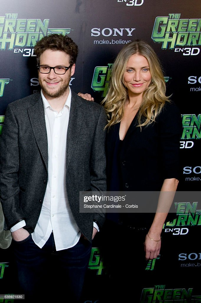Seth Rogen and Cameron Diaz attend the photocall for the Michel Gondry film 'The Green Hornet', in Paris.