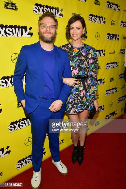 Seth Rogen and Charlize Theron attend the Long Shot Premiere 2019 SXSW Conference and Festivals at Paramount Theatre on March 09 2019 in Austin Texas