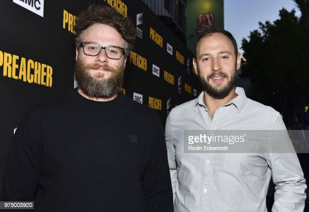 Seth Rogen and Evan Goldberg arrive at the premiere of AMC's 'Preacher' Season 3 at The Hearth and Hound on June 14 2018 in Los Angeles California