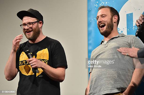Seth Rogen and Evan Goldberg attend the premiere of 'Sausage Party ' during the 2016 SXSW Music Film Interactive Festival at Paramount Theatre on...