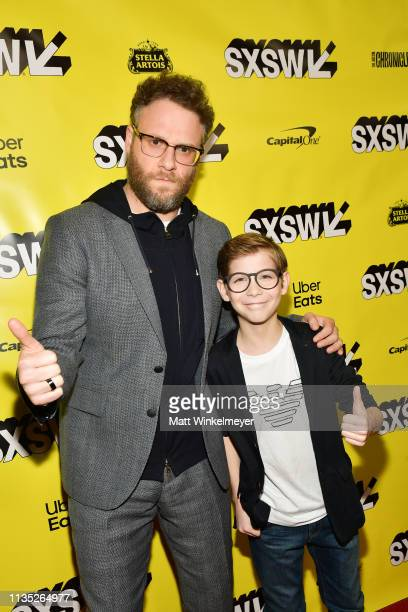 Seth Rogen and Jacob Tremblay attend the Good Boys Premiere 2019 SXSW Conference and Festivals at Paramount Theatre on March 11 2019 in Austin Texas