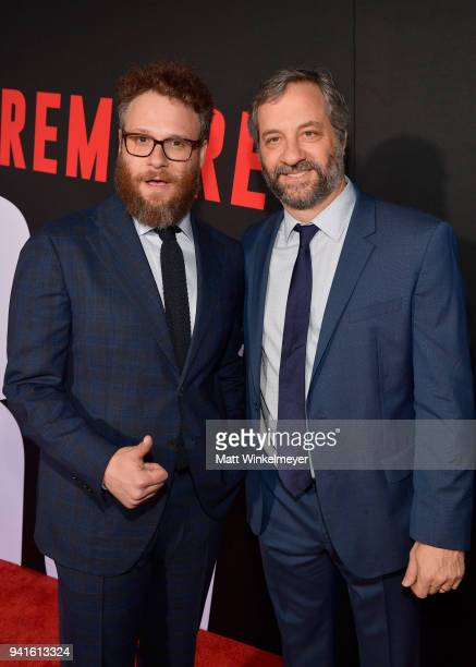 Seth Rogen and Judd Apatow attend the premiere of Universal Pictures' 'Blockers' at Regency Village Theatre on April 3 2018 in Westwood California