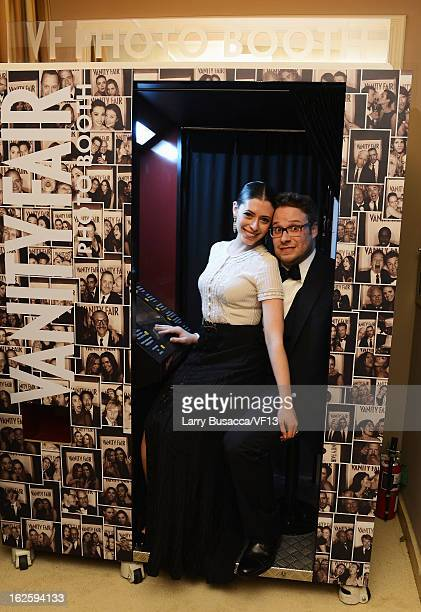Seth Rogen and Lauren Miller attend the 2013 Vanity Fair Oscar Party hosted by Graydon Carter at Sunset Tower on February 24 2013 in West Hollywood...