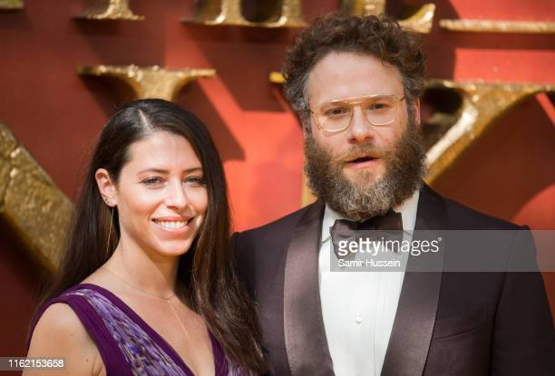 "Seth Rogen and Lauren Miller attend ""The Lion King"" European Premiere at Leicester Square on July 14, 2019 in London, England."