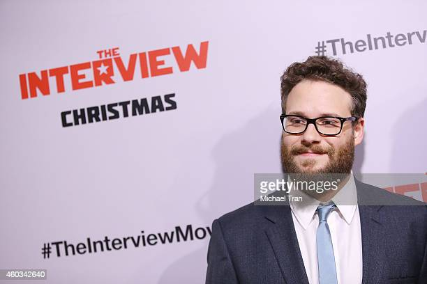 """Seth Rogen arrives at the Los Angeles premiere of """"The Interview"""" held at The Theatre at Ace Hotel Downtown LA on December 11, 2014 in Los Angeles,..."""