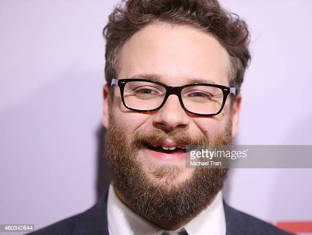Seth Rogen arrives at the Los Angeles premiere of 'The Interview' held at The Theatre at Ace Hotel Downtown LA on December 11 2014 in Los Angeles...