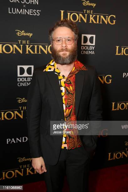 Seth Rogen attends the World Premiere of Disney's THE LION KING at the Dolby Theatre on July 09 2019 in Hollywood California