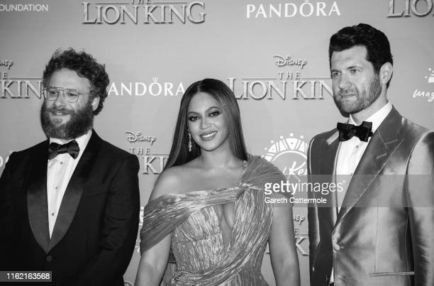 "Seth Rogen, Beyonce Knowles-Carter and Billy Eichner attend the European Premiere of Disney's ""The Lion King"" at Odeon Luxe Leicester Square on July..."