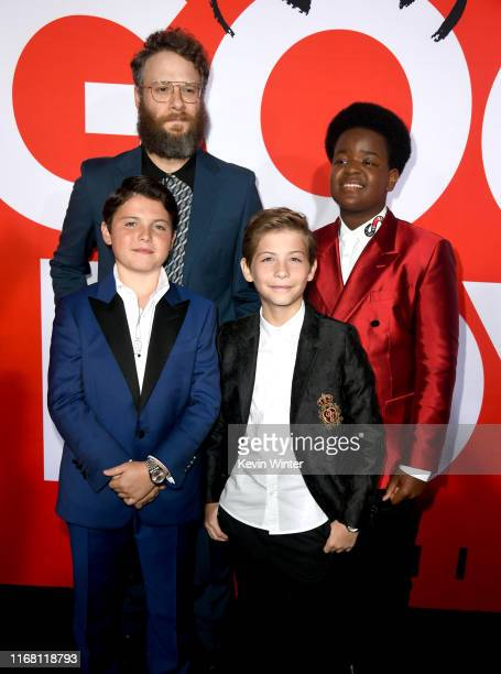 Seth Rogen Brady Noon Jacob Tremblay and Keith L Williams arrive at the premiere of Universal Pictures' Good Boys at the Regency Village Theatre on...