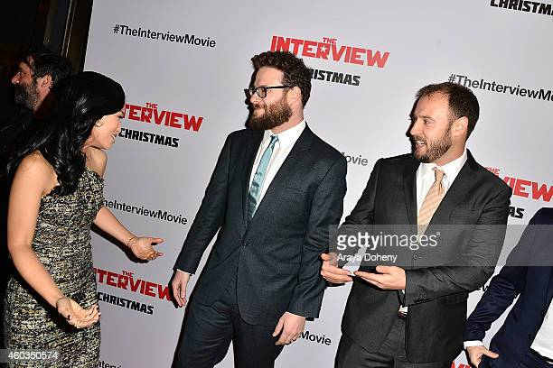 Seth Rogen, Diana Bang and Evan Goldberg arrive at the Los Angeles premiere of 'The Interview' held at The Theatre at Ace Hotel Downtown LA on...