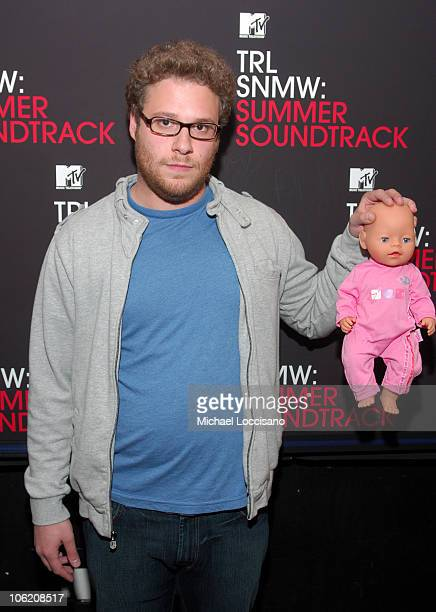Seth Rogen during Seth Rogen Dane Cook NeYo and Maroon 5 Visit MTV's 'TRL' May 29 2007 at MTV Studios Times Square in New York City New York United...