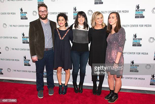 Seth Rogen Ilana Glazer Abbi Jacobson Amy Poehler and Lucia Aniello attend the Id Isn't Always Pretty An Evening With Broad City Panel Discussion at...