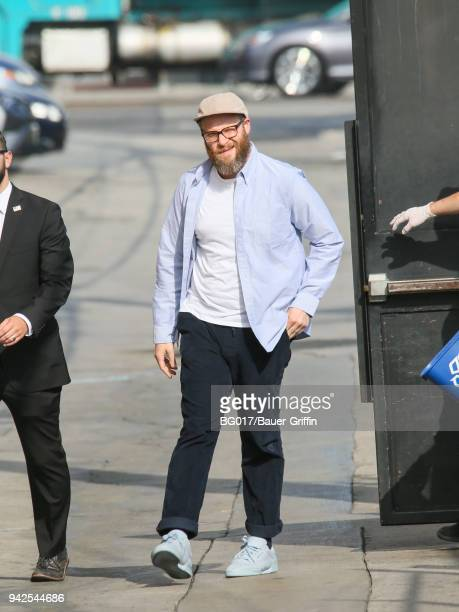 Seth Rogen is seen arriving at 'Jimmy Kimmel Live' on April 05 2018 in Los Angeles California