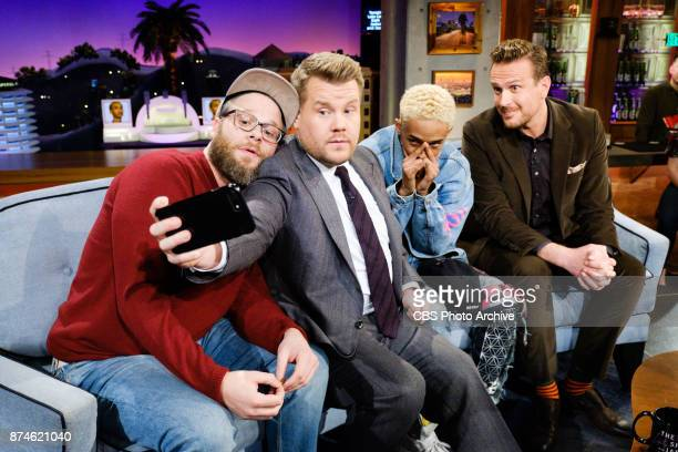 Seth Rogen Jaden Smith and Jason Segel chat with James Corden during 'The Late Late Show with James Corden' Monday November 13 2017 On The CBS...