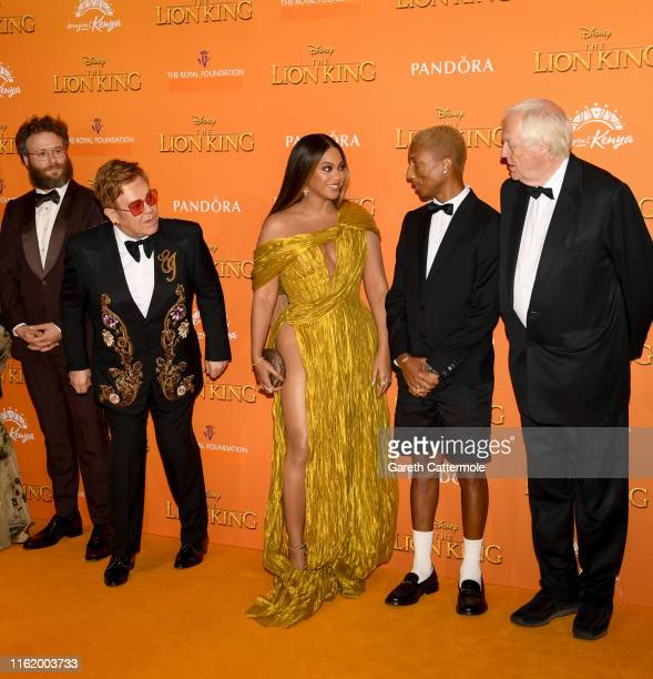 "Seth Rogen, Sir Elton John, Beyonce Knowles-Carter, Pharrell Williams and Sir Tim Rice attend the European Premiere of Disney's ""The Lion King"" at..."