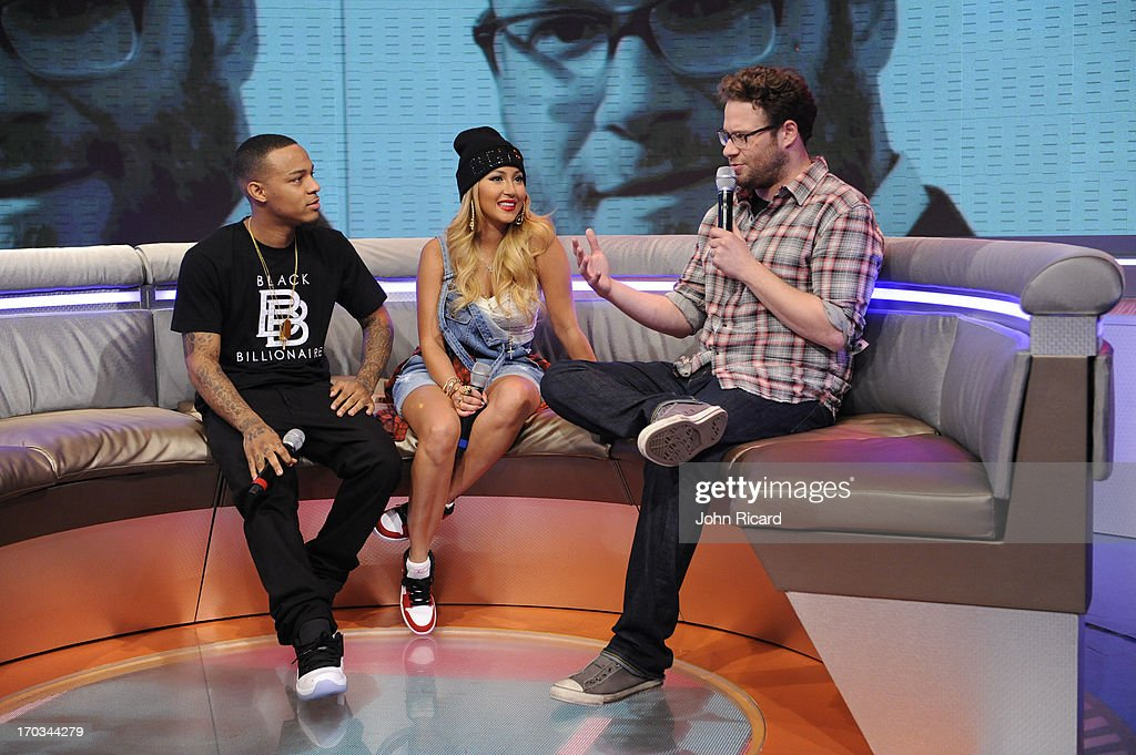 Seth Rogen with hosts Bow Wow and Adrienne Bailon at BET's '106 & Park' at BET Studios on June 10, 2013 in New York City.