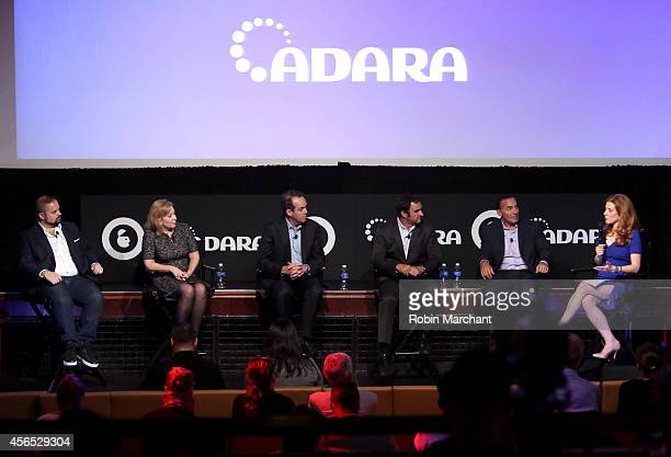 Seth Rogin Michele Tobin Paul Caine Ned Brody Andy Wiedlin and Julia Boorstin speak onstage at CNBC's Masters of Monetization panel during AWXI on...