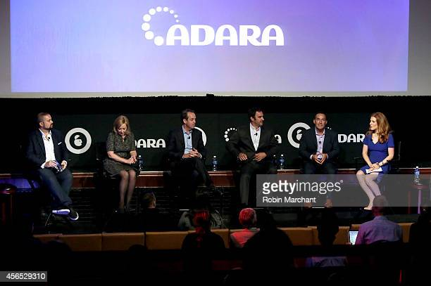 Seth Rogin, Michele Tobin, Paul Caine, Ned Brody, Andy Wiedlin and Julia Boorstin speak onstage at CNBC's Masters of Monetization panel during AWXI...