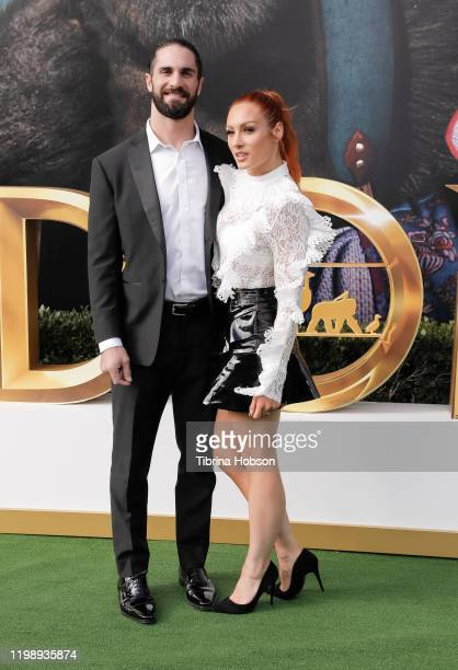 Seth Rollins and Becky Lynch attend the Premiere of Universal Pictures' Dolittle at Regency Village Theatre on January 11 2020 in Westwood California