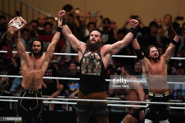Seth Rollins and Braun Strowman and AJ Styles celebrate the victory during the WWE Live Tokyo at Ryogoku Kokugikan on June 29, 2019 in Tokyo, Japan.