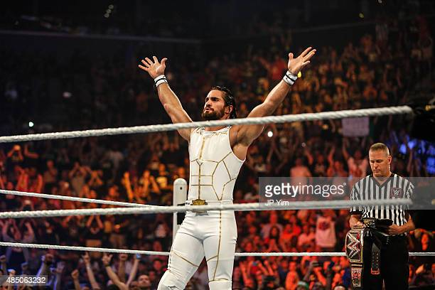 Seth Rollins enters the ring at the WWE SummerSlam 2015 at Barclays Center of Brooklyn on August 23 2015 in New York City