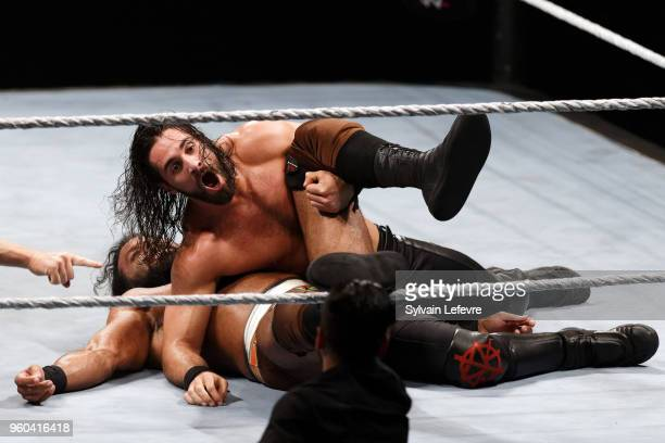 Seth Rollins in action vs Jinder Mahal during WWE Live AccorHotels Arena Popb Paris Bercy on May 19 2018 in Paris France