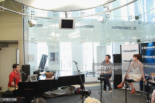 Seth Rudetsky hosts actors Eric McCormack and Julia Murney at Seth Rudetsky's Seth Speaks at SiriusXM Studios on July 2 2012 in New York City