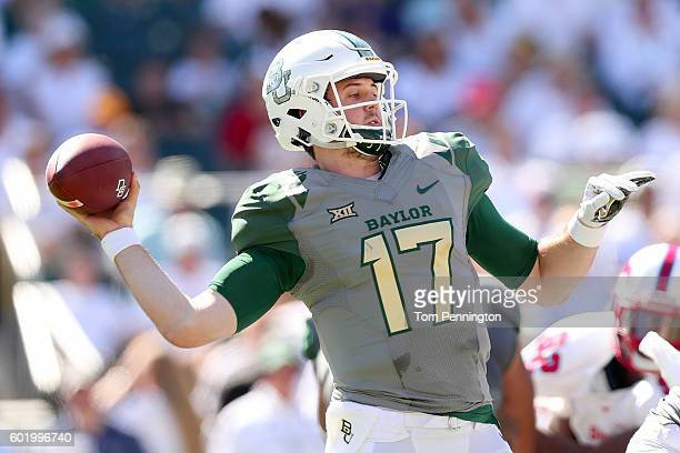 Seth Russell of the Baylor Bears looks for an open receiver against the Southern Methodist Mustangs in the first half at McLane Stadium on September...